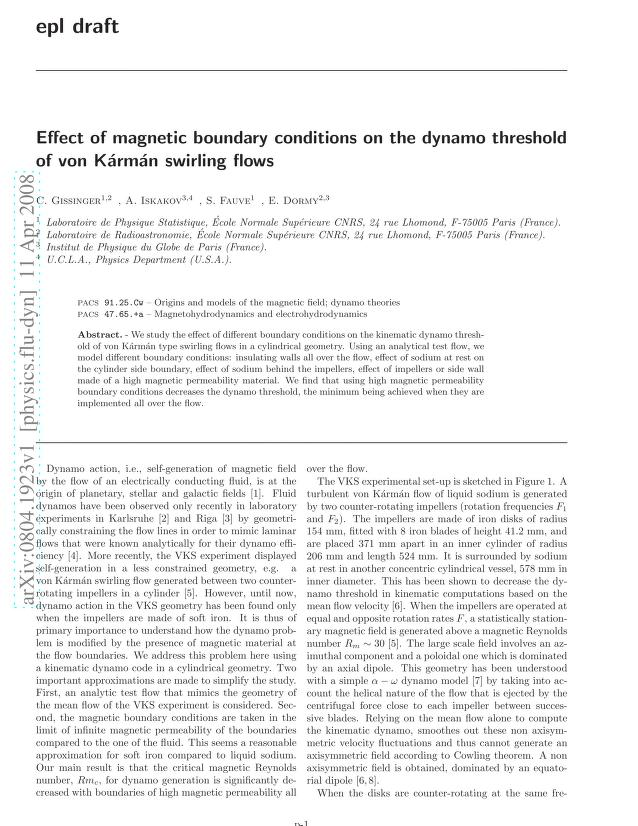 Christophe Gissinger - Effect of magnetic boundary conditions on the dynamo threshold of von Karman swirling flows