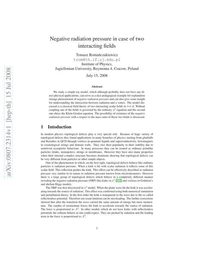 Tomasz Romanczukiewicz - Negative radiation pressure in case of two interacting fields
