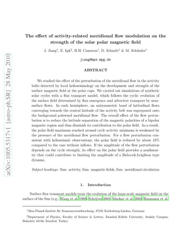 J. Jiang - The effect of activity-related meridional flow modulation on the strength of the solar polar magnetic field