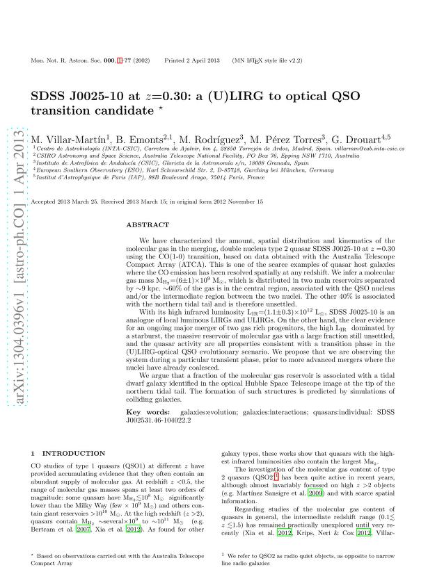 M. Villar-Martin - SDSS J0025-10 at z=0.30: a (U)LIRG to optical QSO transition candidate
