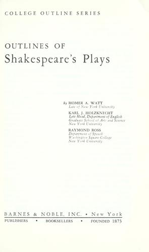 Download Outlines of Shakespeare's plays