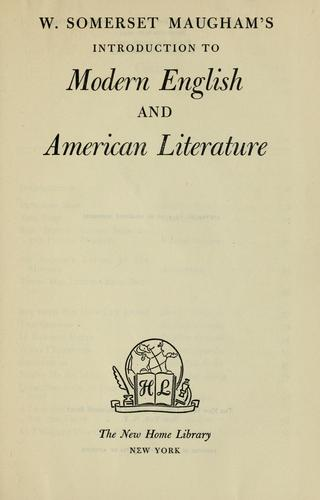 Download W. Somerset Maugham's Introduction to modern English and American literature.