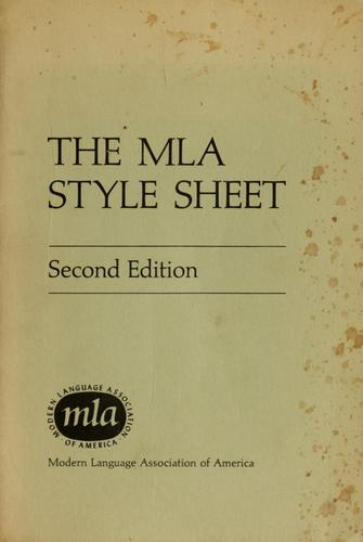 Download The MLA style sheet.