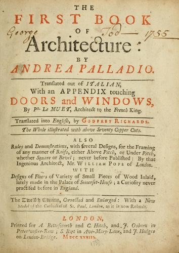 The first book of architecture