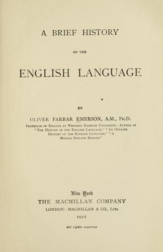 A brief history of the English language.