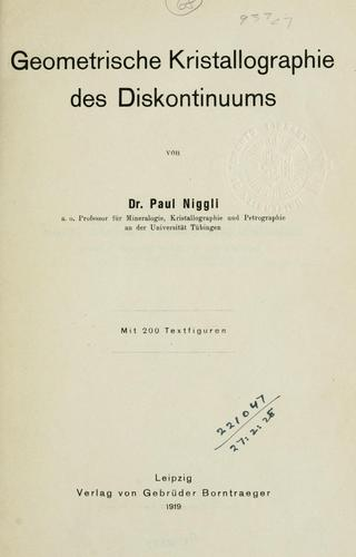 Geometrische Kristallographie des Diskontinuums.