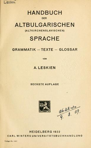 Download Handbuch der altbulgarischen (Altkirchenslavischen) Sprache