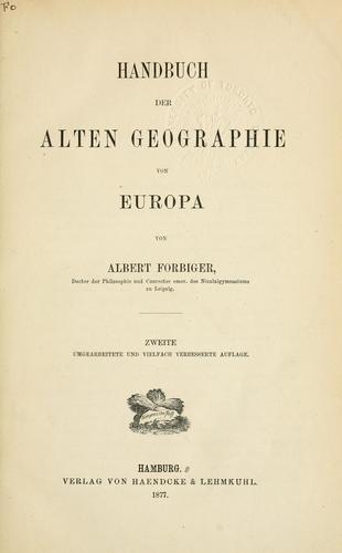 Handbuch der alten Geographie.