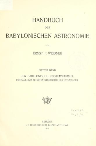 Download Handbuch der babylonischen Astronomie.