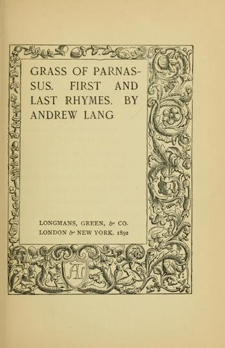 Download Grass of parnassus. first and last rhymes.