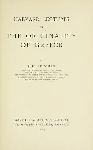 Download Harvard lectures on the originality of Greece