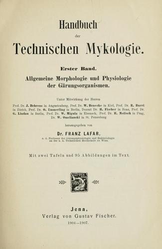 Handbuch der technischen Mykologie.
