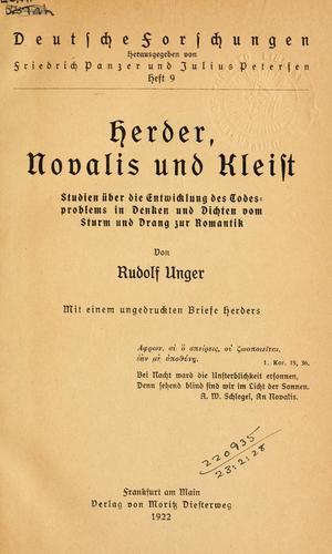 Download Herder, Novalis und Kleist