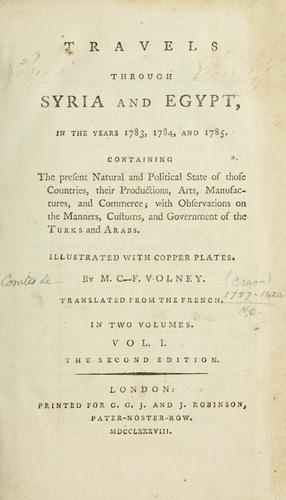 Download Travels through Syria and Egypt, in the years 1783, 1784, and 1785 …
