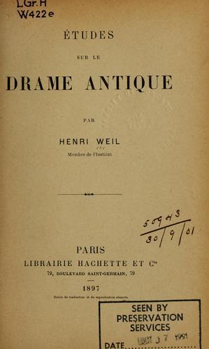 Études sur le drame antique