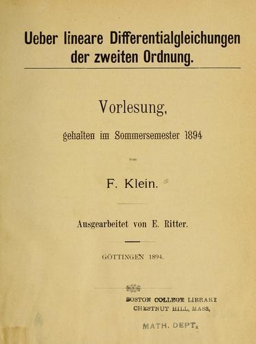 Download Ueber lineare differentialgleichungen der zweiten ordnung.