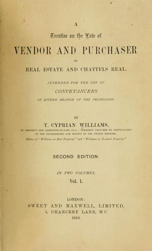 Download A treatise on the law of vendor and purchaser of real estate and chattels real