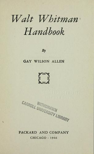 Download Walt Whitman handbook