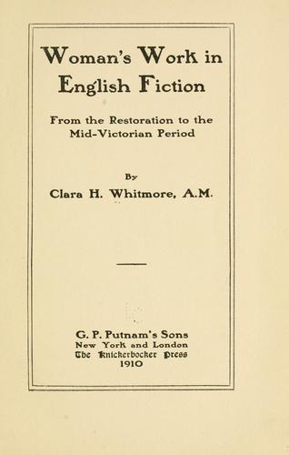 Woman's work in English fiction