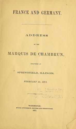 France and Germany by Adolphe de Pineton marquis de Chambrun