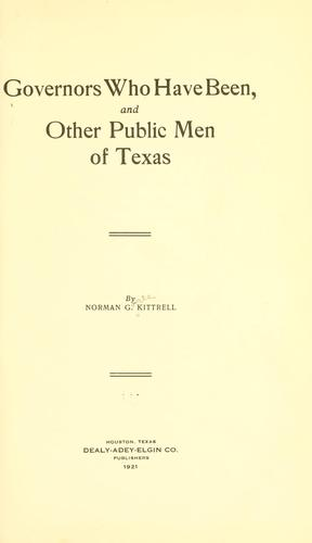 Governors who have been by Kittrell, Norman Goree
