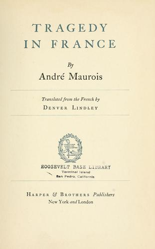 Tragedy in France by André Maurois