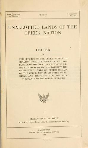 Unallotted lands of the Creek nation by Creek Nation.