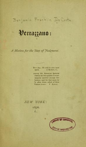 Verrazzano by Benjamin Franklin De Costa